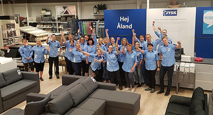 The JYSK team at the opening of JYSK Åland