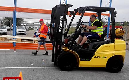 Dimitar from Bozhurishte competed in a forklift contest in Sofia